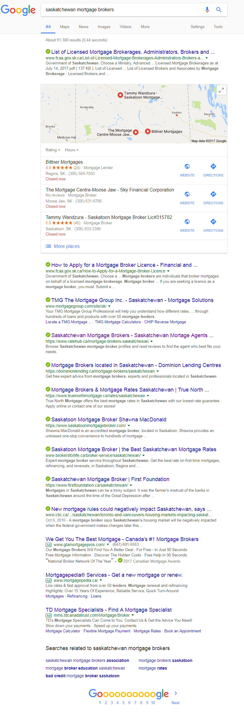 Saskatchewan Mortgage Brokers - Results from Google