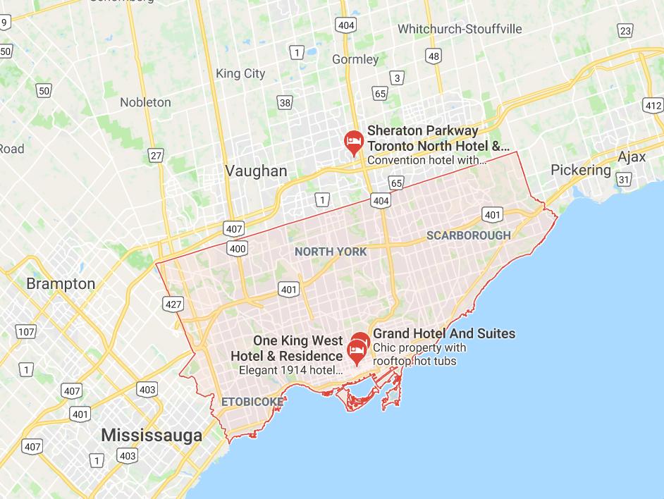 Map of Toronto, Ontario