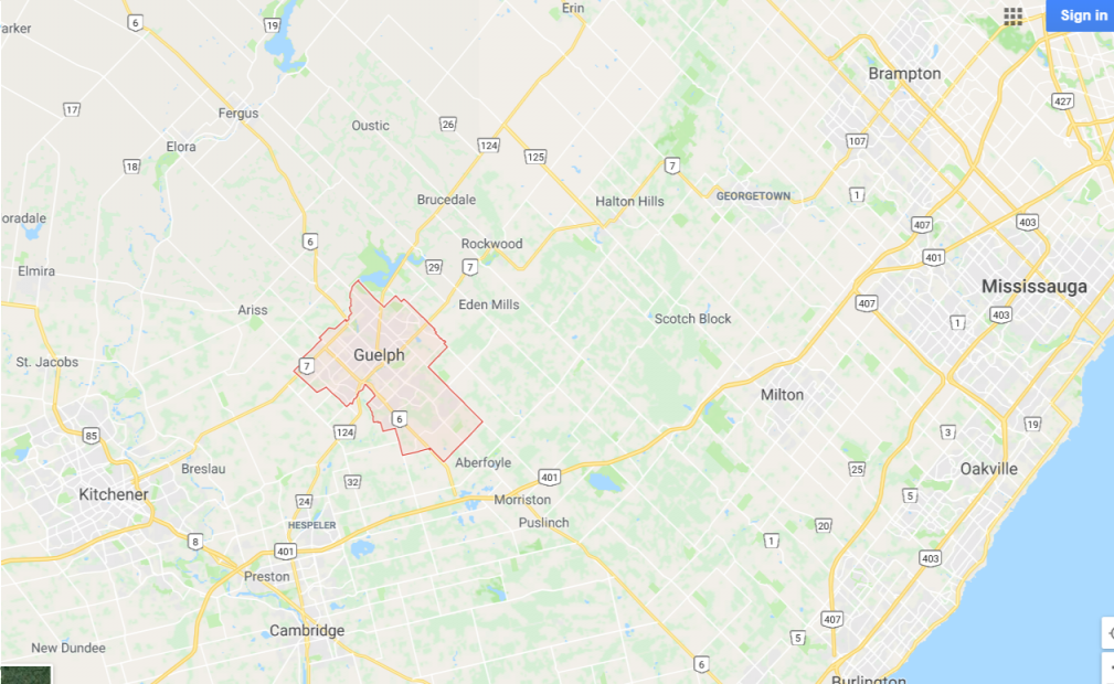 Map of Guelph and surrounding area